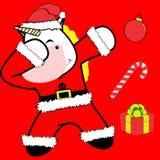 Bande dessinée tamponnante de costume de Noël Claus de licorne de pose de limande illustration stock