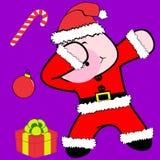 Bande dessinée tamponnante de costume de Noël Claus de porc de pose de limande illustration stock