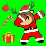 Bande dessinée tamponnante de costume de Noël Claus de renne de pose de limande illustration libre de droits
