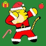 Bande dessinée tamponnante de costume de Noël Claus de tigre de pose de limande illustration stock