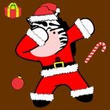 Bande dessinée tamponnante de costume de Noël Claus de zèbre de pose de limande illustration libre de droits