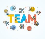 Bande dessinée Team Concept Card Poster Vecteur illustration de vecteur