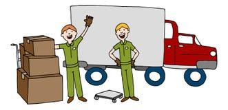 Bande dessinée Team With Truck d'entreprise de déménagement et boîtes illustration stock
