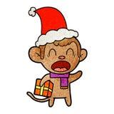 bande dessin?e texturis?e de cri d'un cadeau de transport de No?l de singe utilisant le chapeau de Santa illustration de vecteur