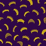 Bande dessinée Tiara Seamless Pattern Background Vecteur illustration libre de droits