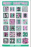 Bande dessinée tirée par la main Advent Calendar Images stock