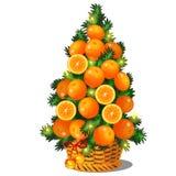 Bande dessinée topiaire sous forme d'arbre de Noël de cône avec des oranges Croquis pour la carte de voeux, l'affiche de fête ou  illustration stock