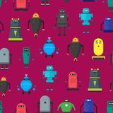 Bande dessinée Toy Robots Background Pattern mignon Vecteur illustration libre de droits