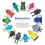 Bande dessinée Toy Robots Banner Card Circle mignon Vecteur Photo stock