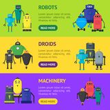 Bande dessinée Toy Robots Banner Horizontal Set mignon Vecteur Photos libres de droits