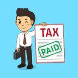 Bande dessinée un impôt payé d'homme d'affaires illustration de vecteur