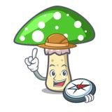 Bande dessinée verte de mascotte de champignon d'amanite d'explorateur illustration de vecteur