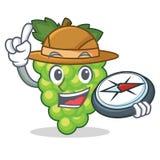 Bande dessinée verte de mascotte de raisins d'explorateur illustration de vecteur