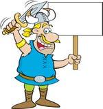 Bande dessinée Viking Waving une épée et tenir un signe Image libre de droits