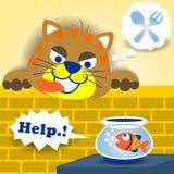Bande dessinée vilaine de chat photo libre de droits