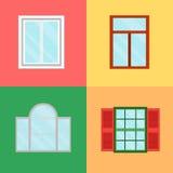 Bande dessinée Windows réglé sur un fond de couleur Vecteur Photographie stock