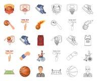Bande dessin?e de basket-ball et d'attributs, ic?nes d'ensemble dans la collection d'ensemble pour la conception Vecteur de joueu illustration stock
