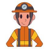 Bande dessin?e professionnelle de caract?re de sapeur-pompier illustration de vecteur