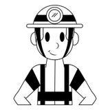 Bande dessin?e professionnelle de caract?re de sapeur-pompier en noir et blanc illustration de vecteur