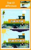Bande dessinée de l'éducation pour trouver 10 différences chez les photos des enfants Photo stock