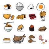 Bande dessinée de menu de restaurant japonais de nourriture Photographie stock libre de droits