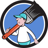 Bande dessinée de Paintbrush Walking Circle de peintre de Chambre Photos libres de droits