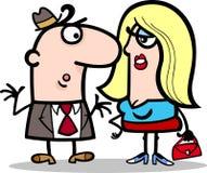 Bande dessinée drôle de couples d'homme et de femme Images stock