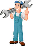 Bande dessinée drôle de mécanicien tenant la clé et renonçant à des pouces Images stock
