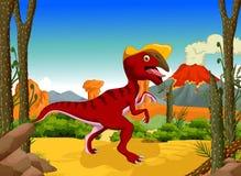 Bande dessinée drôle de Parasaurolophus de dinosaure avec le fond de paysage de forêt Photographie stock