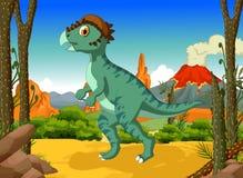 Bande dessinée drôle de Stegoceras de dinosaure avec le fond de paysage de volcan Image stock