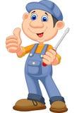 Bande dessinée mignonne de mécanicien tenant un tournevis et renonçant à des pouces Image libre de droits