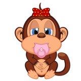 Bande dessinée mignonne de singe de bébé Image libre de droits