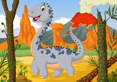 Bande dessinée mignonne drôle de dinosaure posant dans la jungle avec le fond de paysage Photos stock