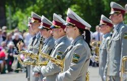 Bande en laiton d'armée, saxophone, interprète, musicien Photo libre de droits