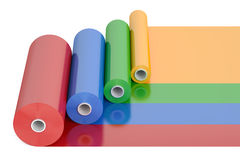 Bande en plastique Rolls, de polythène de PVC de couleur rendu 3D Photographie stock libre de droits
