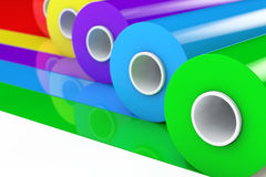 Bande en plastique Rolls de polythène multicolore de PVC ou aluminium renderin 3D Image stock