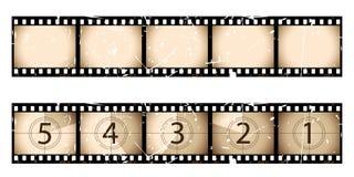 Bande et compte à rebours de film de sépia illustration stock