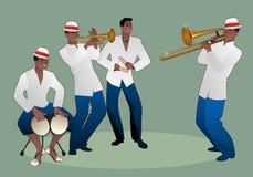 Bande latine Quatre musiciens latins jouant les bongos, la trompette, les claves et le trombone illustration libre de droits