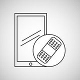 Bande médicale de plâtre de téléphone portable Photographie stock libre de droits