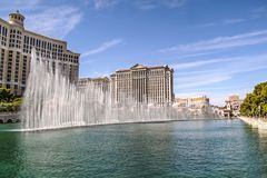 Bande magnifique de Las Vegas de fontaines de Bellagio - h?tel de bande de Las Vegas images libres de droits