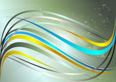 Bande ondulate gialle e blu brillanti su un fondo verde Immagine Stock Libera da Diritti