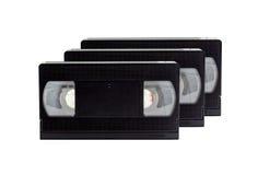 Bande VHS de casset de VDO dans 80s sur le blanc Images libres de droits