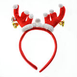 Bandeau drôle de renne de Santa d'isolement sur le blanc. Images libres de droits