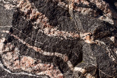 Banded gneiss rock. Banded dark gneiss rock with rose colored veins Royalty Free Stock Photo