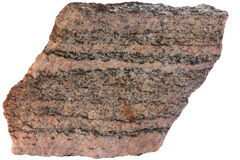 Banded metamorphic rock gneiss from Karelia Royalty Free Stock Image