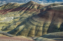 Banded rock formations at the Painted Hills in eastern Oregon Royalty Free Stock Photos