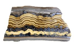 Banded Schalenblende specimen, similar to Agate. A banded and layered specimen of Schalenblende, similar to Agate but composed of Sphalerite, Marcasite, Pyrite royalty free stock images