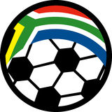 Bandeira África do Sul da esfera de futebol Fotografia de Stock Royalty Free