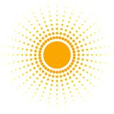 A bandeira abstrata alaranjada da placa dos pontos projeta o elemento sob a forma de um sol com os raios pontilhados em um decora ilustração stock