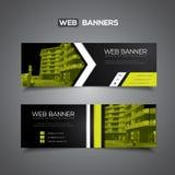 Bandeira abstrata do vetor para as cores do molde da Web, as pretas e as verdes Imagens de Stock